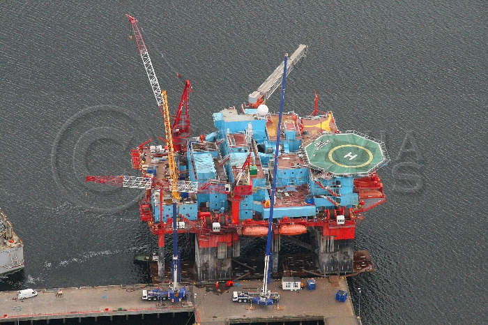 Aerial Photography Scotland Safe Bristolia Oil Acccomodation platform rig