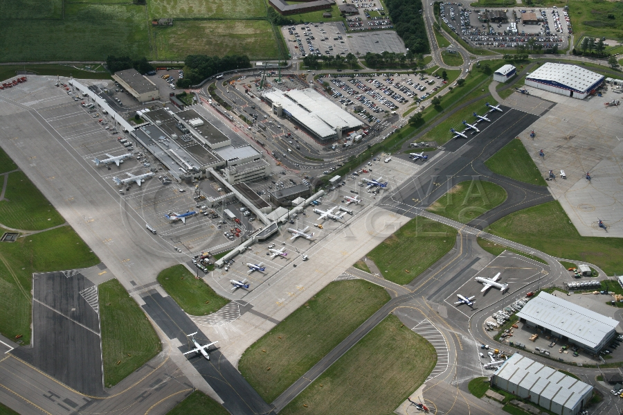 Aerial photography Scotland Aberdeen airport terminal