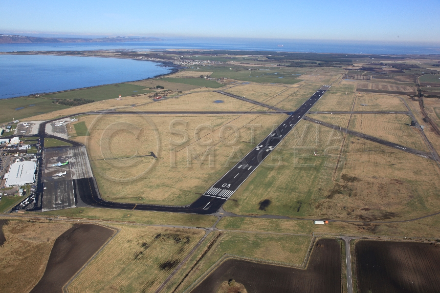 Aerial photography scotlang Inverness airport from West