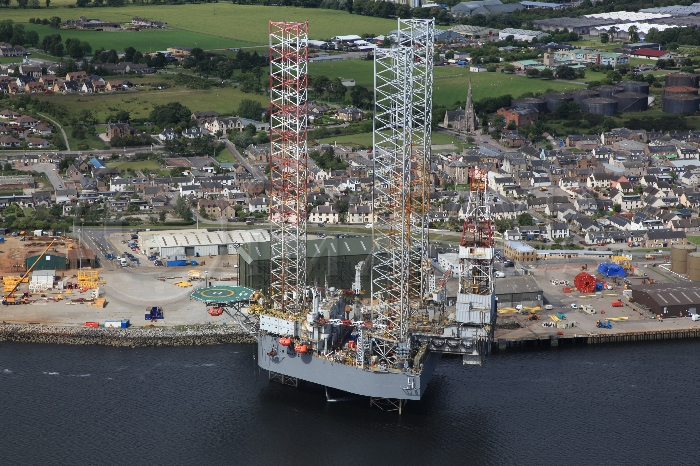 Aerial photography Scotland oil platform rig GSF Galaxy 2