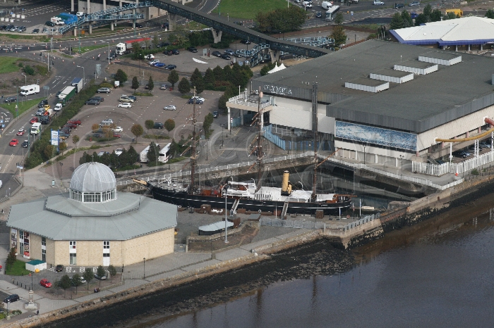 Aerial photography Scotland RRS Discovery Dundee historic ship