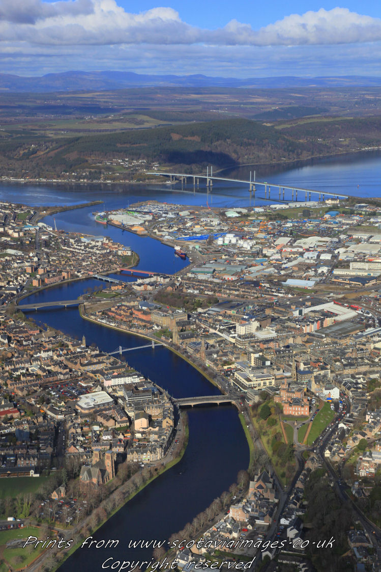 Scottish scenery,aerial photography Scotland,Inverness,River Ness