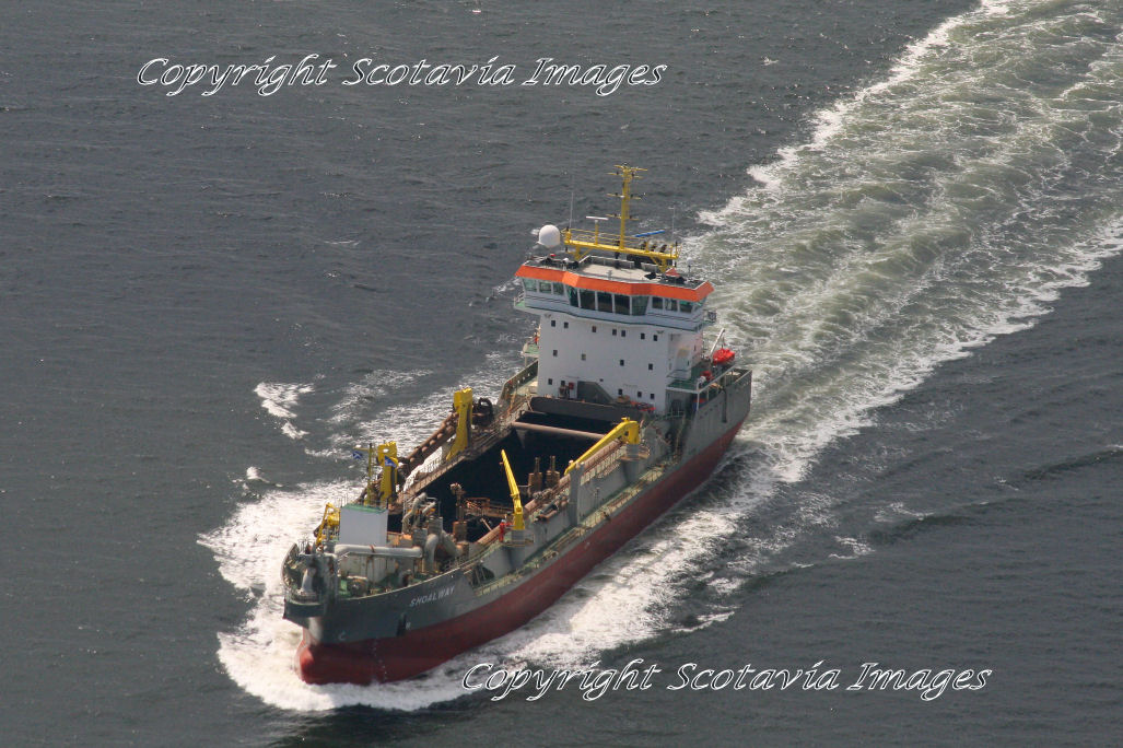 Aerial photography Scotland Dredger Shoalway on the Clyde.