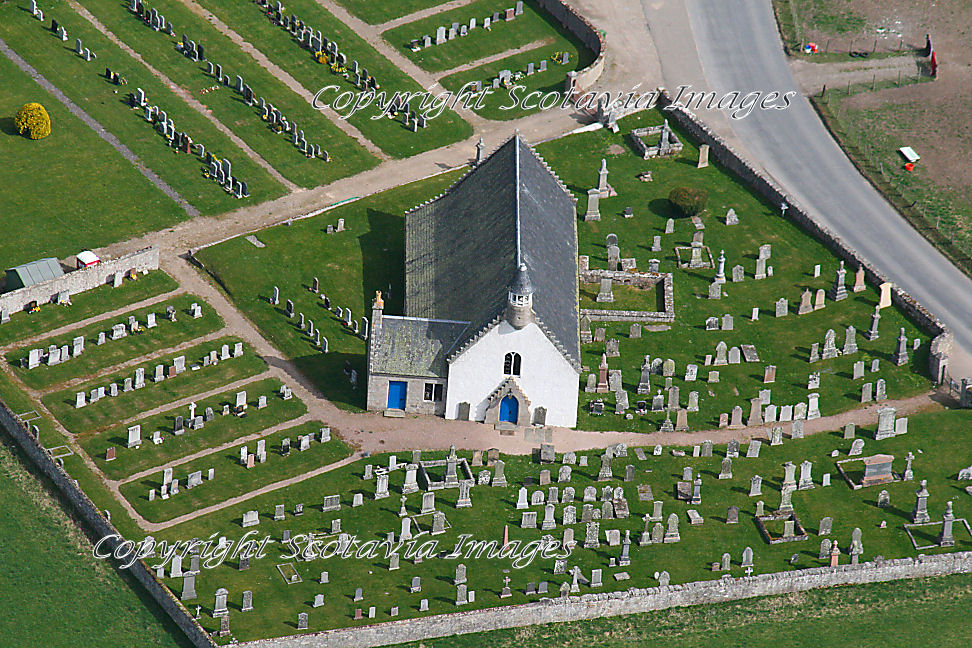 Aerial photography Scotland Nethybridge Old Kirk