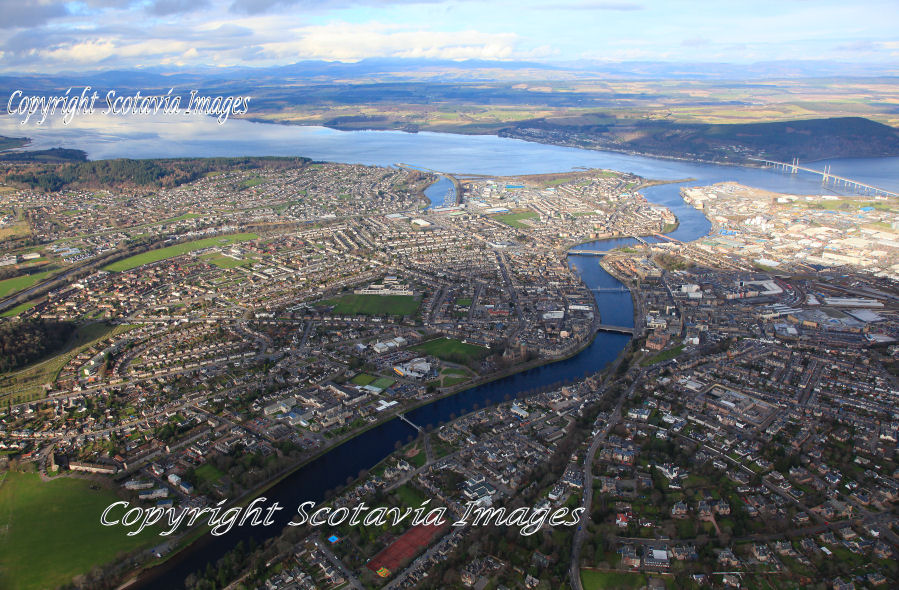 Aerial photography Scotland Inverness looking North