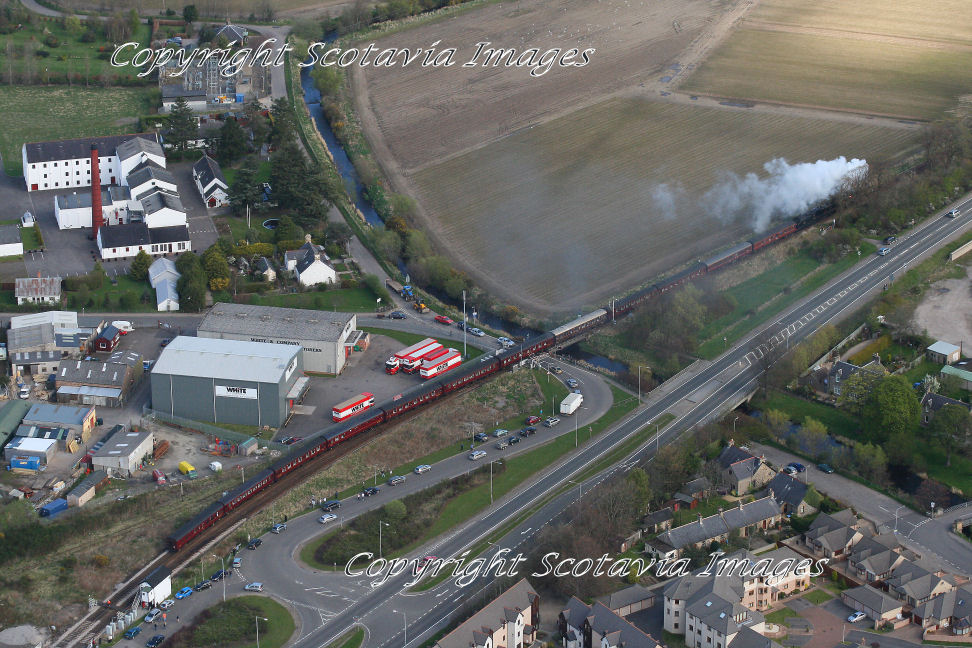 Aerial photography Scotland  Steam returns to Forres April 2009