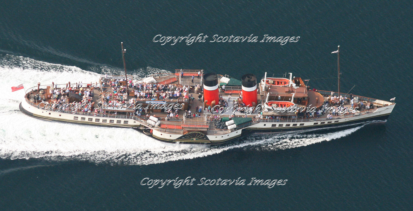 Aerial photography Scotland Waverley paddle steamer 1