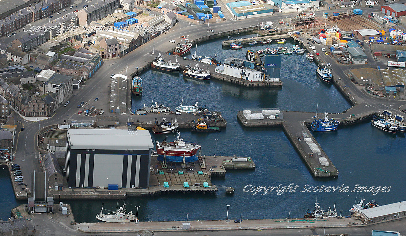 Aerial photography Scotland  Peterhead Inner Harbour
