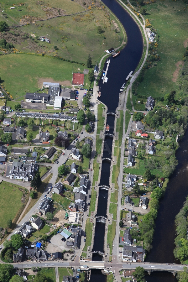 aeial photography scotland scottish scenery Canal locks fort augustus