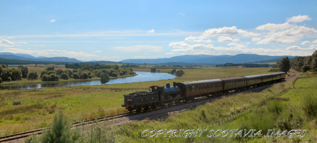 Aerial photography Scotland Steam by the Spey Strathspey steam Railway