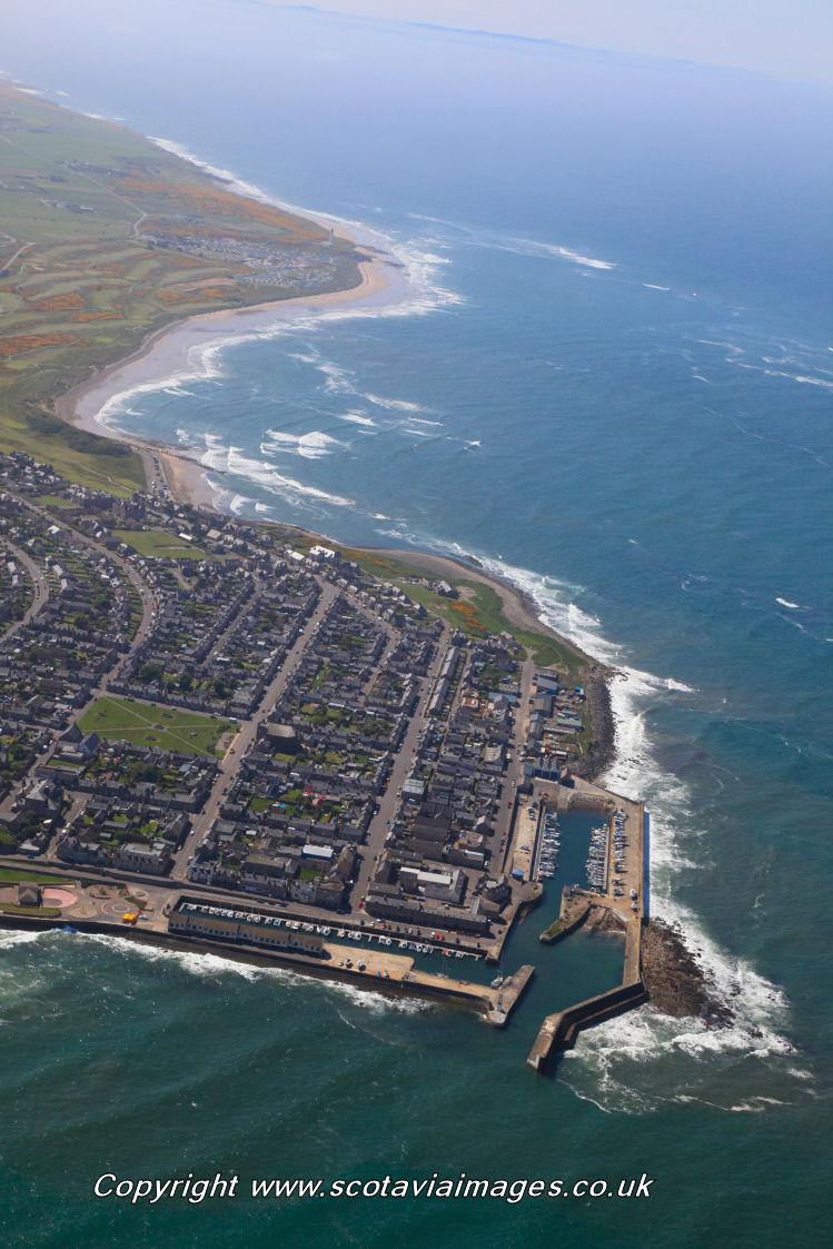 Scottish scenery ,Aerial photography Scotland,Lossiemouth harbour old town