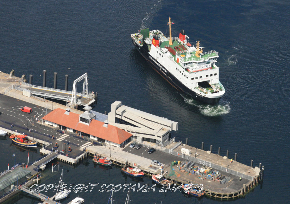 Aerial photography Scotland Ferry Argyle arriving at Rothesay