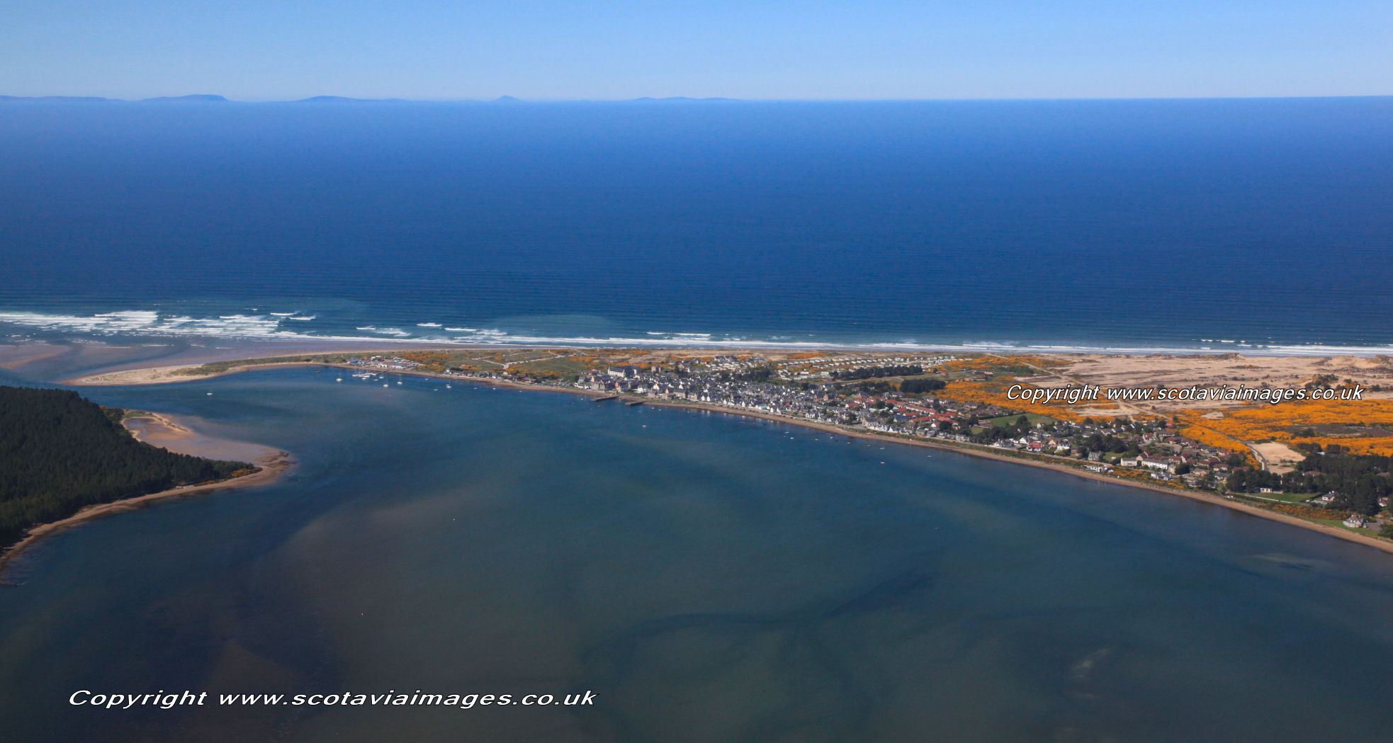 Scottish scenery ,Aerial photography Scotland,Findhorn, wide view