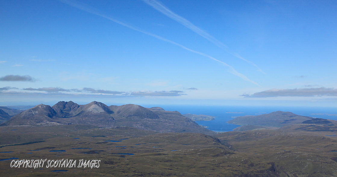 Aerial photography Scotland An Teallach and Little Loch Broom