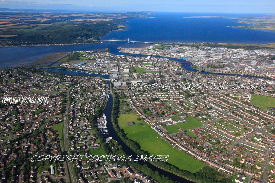 Aerial photography Scotland Inverness and canal