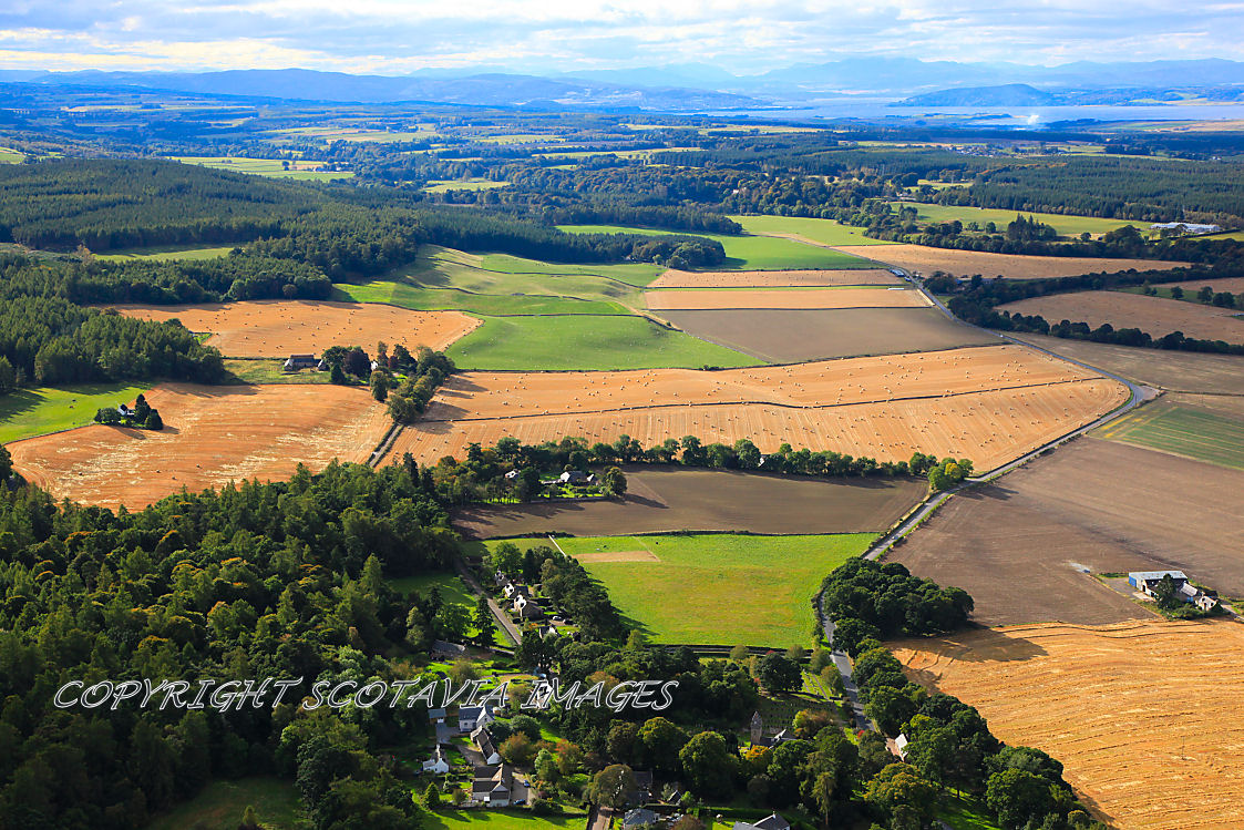 Aerial photography Scotland Harvest time around Cawdor