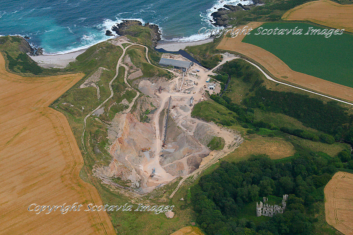 Aerial photography Scotland  Boyne Castle and Quarry