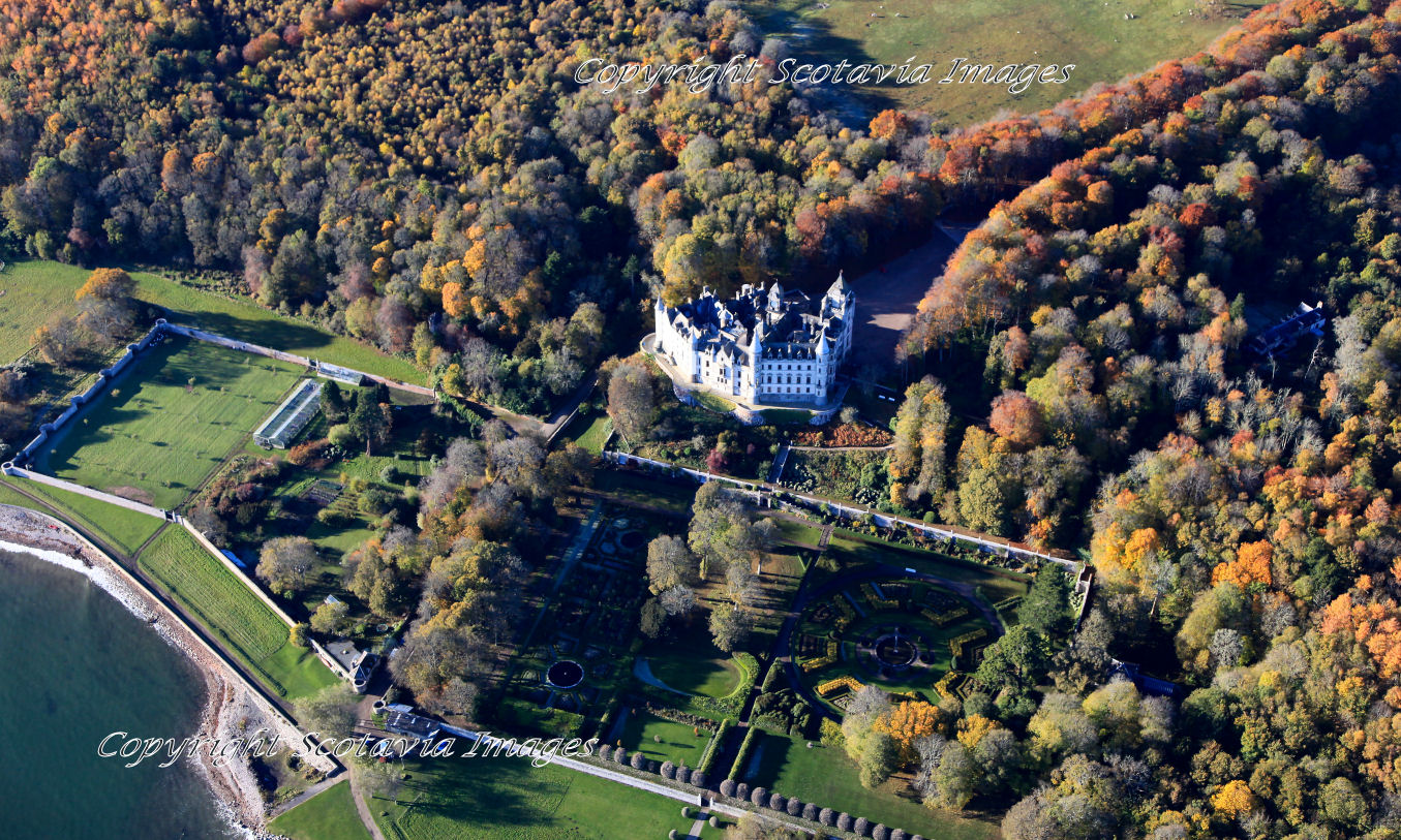 Aerial photography Scotland  Dunrobin Castle Autumn 2