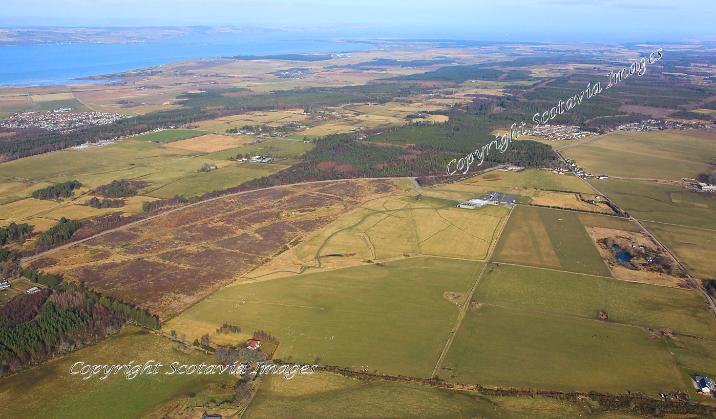 Aerial photography Scotland Culloden battlefield from the South