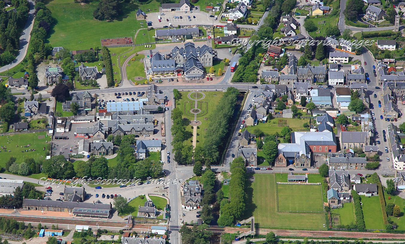 Aerial photography Scotland Kingussie town centre