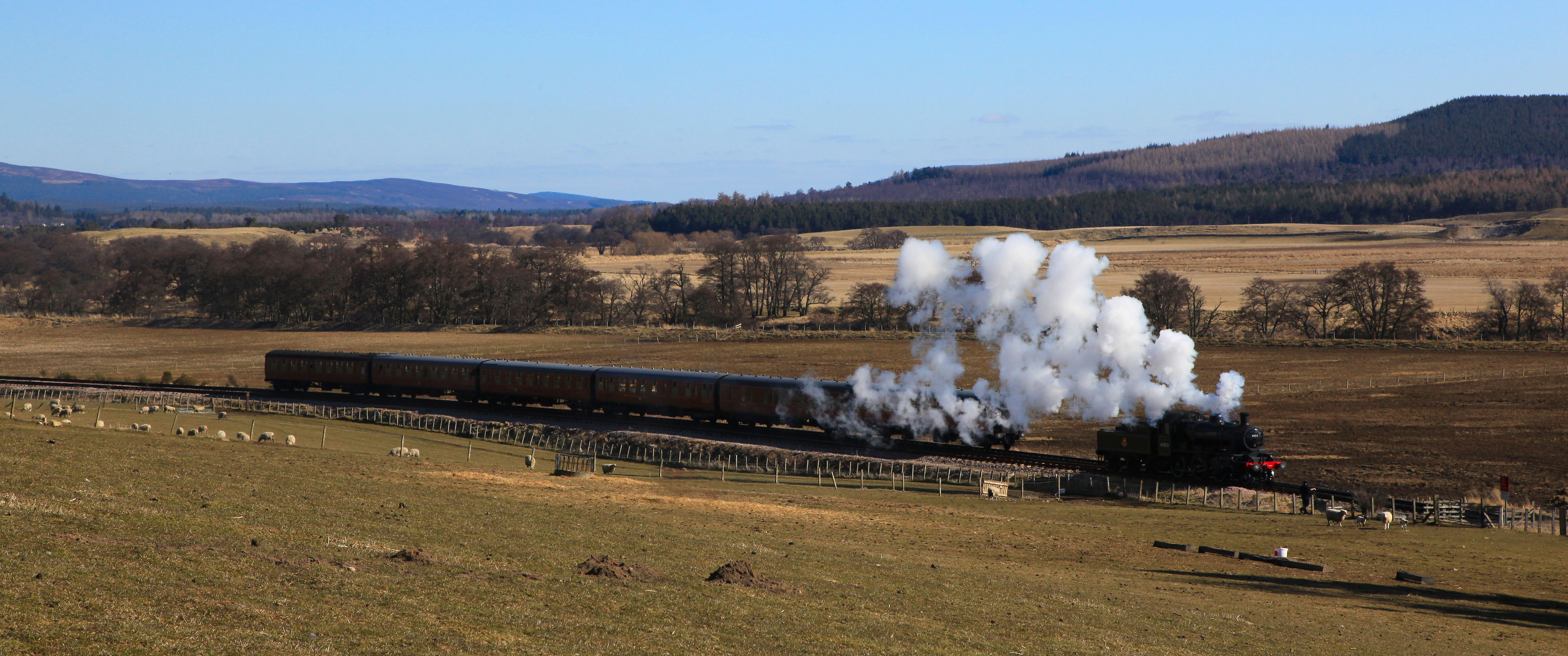 Aerial photography Scotland Broomhill steam train
