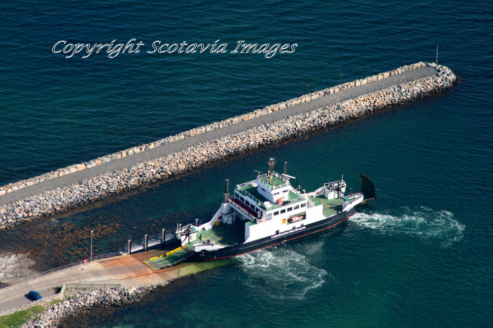 Aerial photography Scotland Ferry Portain at Berneray Aug 2012