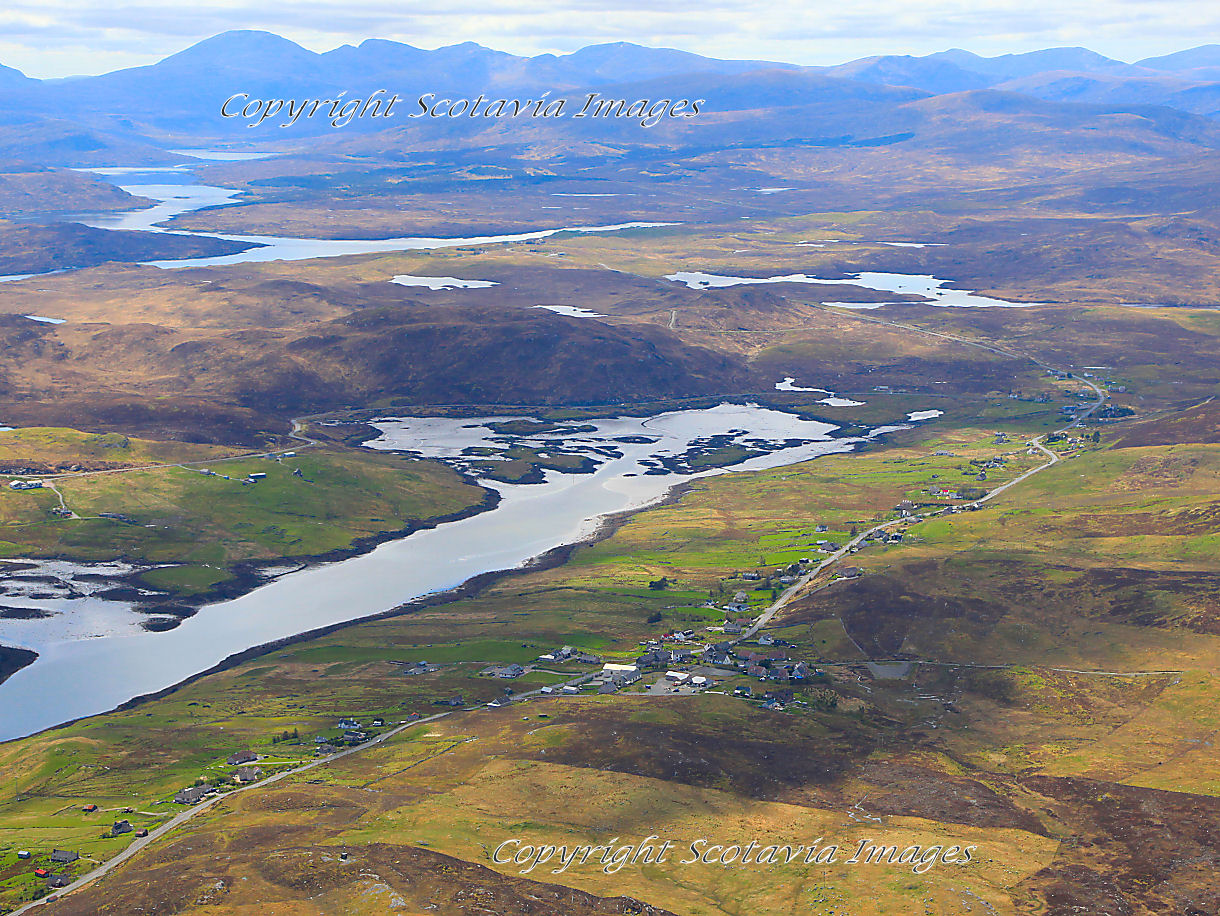 Aerial photography Scotland Baile Ailein by Loch Eireasort, Isle of Lewis