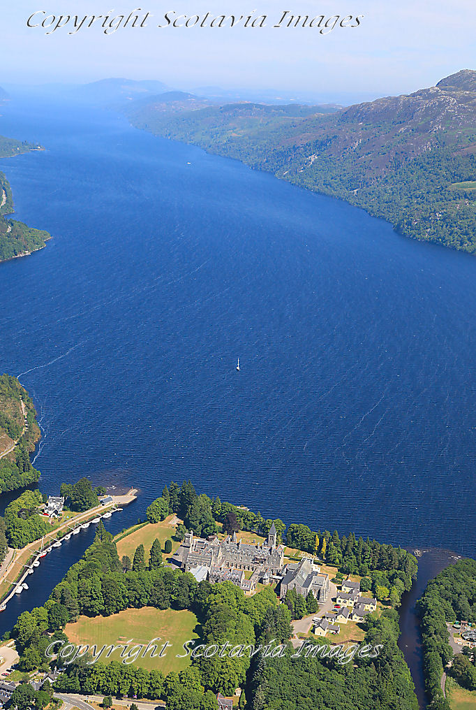 Scottish Castle  Aerial photography Scotland Fort Augustus abbey  Loch Ness