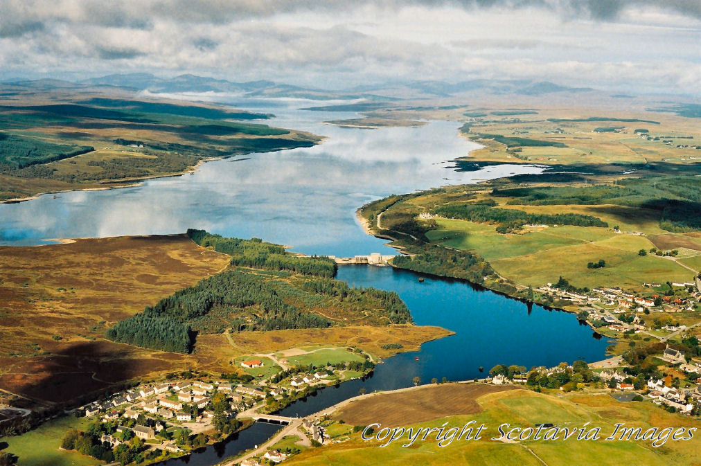 Aerial photography Scotland Lairg  Loch Shin Scottish Scenery
