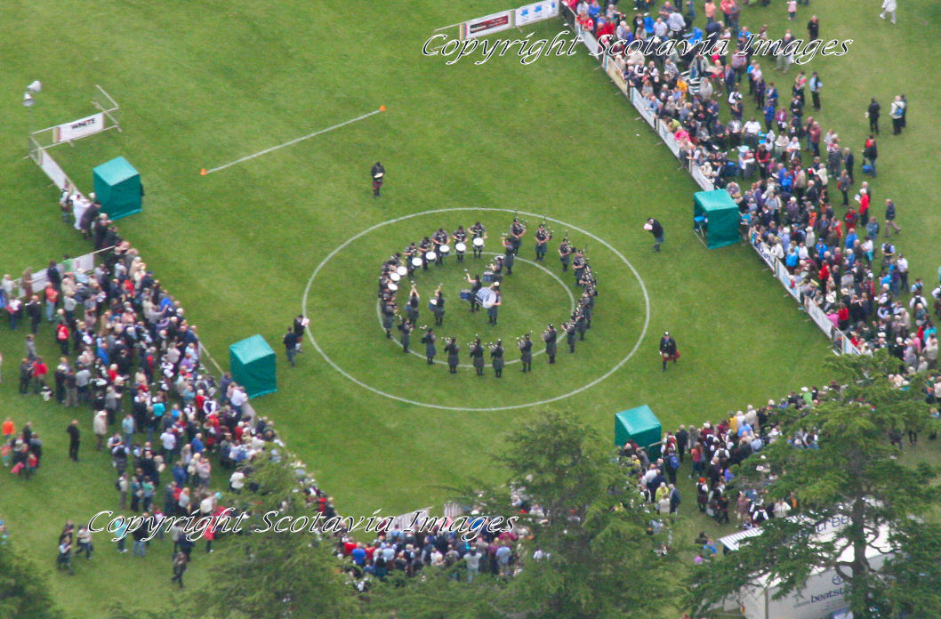 Aerial photography Scotland Forres Piping contest 2013 Piping Hot Forres, the European Pipe Band Championships