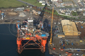 Aerial photography Scotland Essar Wildcat rig platform oil