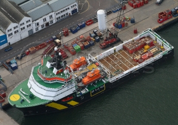 Aerial photography Scotland  Caledonian Vision Ship Jigsaw rescue North Sea oil support