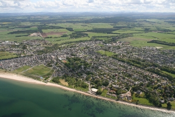 Aerial photography Scotland Nairn beach swimming pool