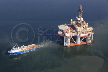 Aerial photography Scotland GSF Artic 2 oil platform rig tug