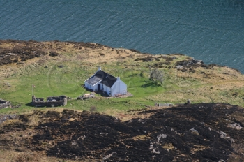 Aerial photography Scotland croft fladday