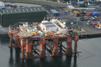 Aerial photography Scotland Borgholm Dolphin oil rig platform hotel floating
