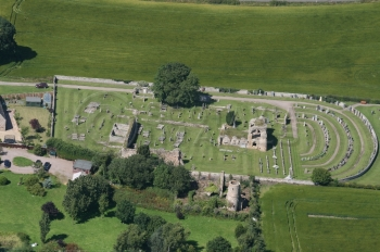Aeriial photography scotland kinloss abbey RAF graves