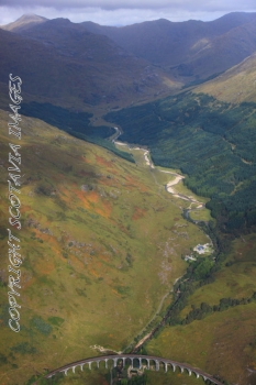 Aerial photography Scotland Scottish scenery Glenfinnan above the viaduct