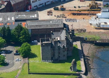 Scottish Castle  Aerial photography Scotland Newark Castle Port Glasgow