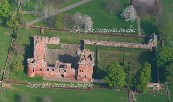 Aerial photography Scotland Edzell castle garden