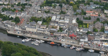 Aerial photography Scotland Stornoway quayside