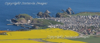 Aerial photography Scotland Portknockie Bow Fiddle Rock