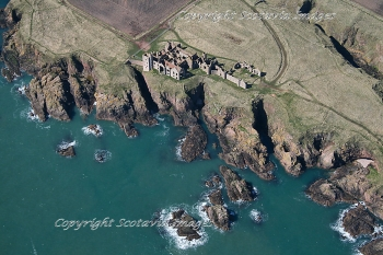 Aerial photography Scotland New Slains castle