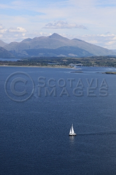 aerial photography scotland yacht at sea
