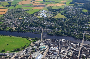 Aerial photography Scotland Perth Bridge River Tay