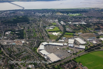 Aerial photography Scotland Dundee Kingsway West retail park