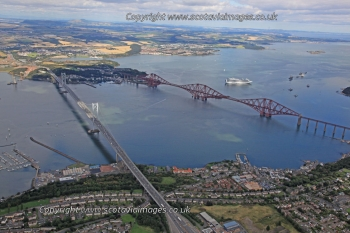 Scottish scenery ,aerial photography Scotland,Forth bridges road rail