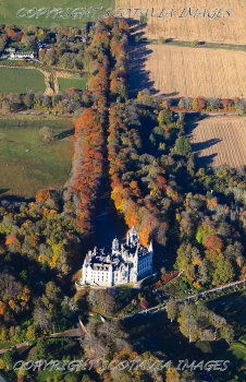 Aerial photography Scotland Dunrobin Castle Autumn