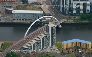 Aerial photography Scotland Glasgow Clyde arc Squinty  bridge