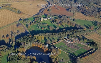 Scottish castle Gordon gardens Fochabers Morayshire Aerial Photography Scotland